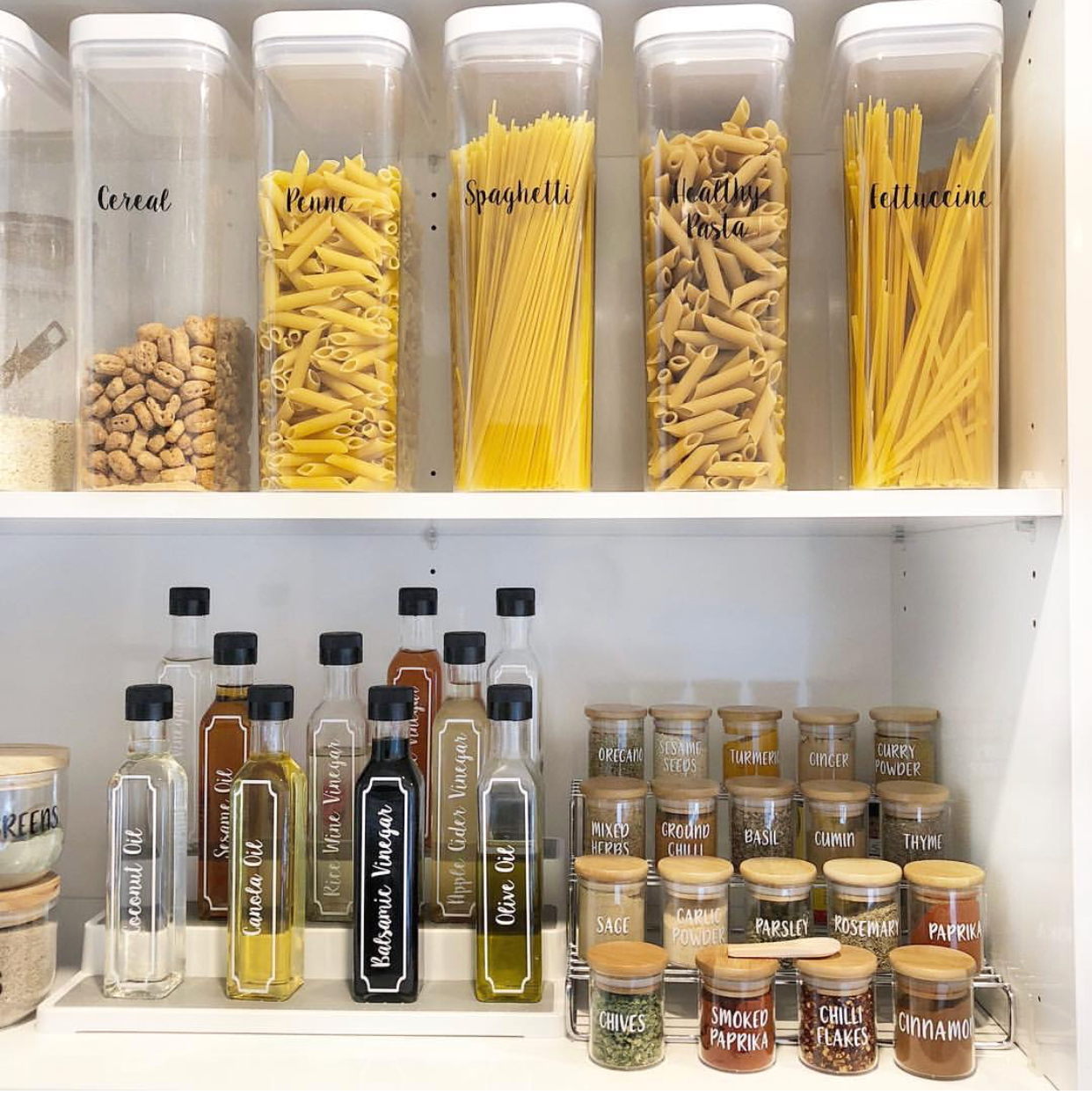 oils and spices storage in pantry