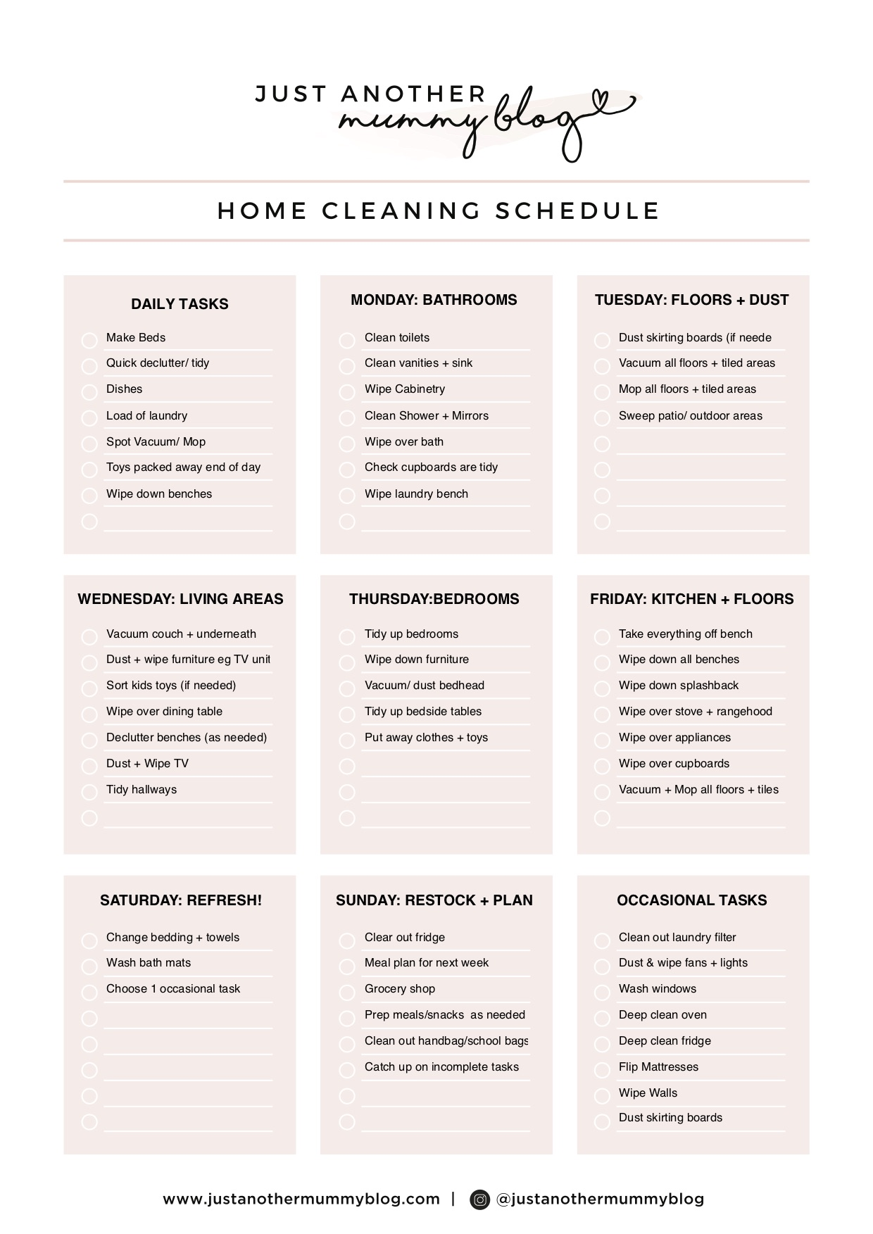 My Cleaning Schedule for the home - Just Another Mummy Blog